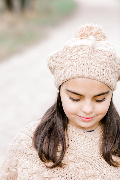 Girls Cable Beret with Pom
