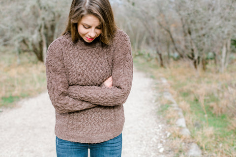 Cable Sweater - 100% Organic Hand-Knit Merino Wool