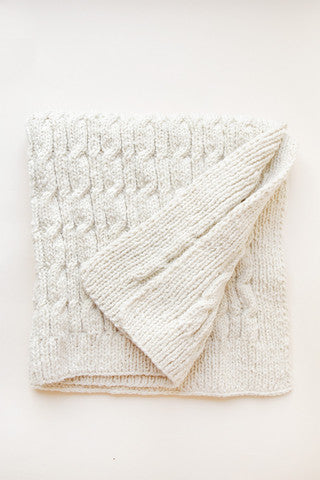 Cabled Baby Blanket - 100% Organic Hand-Knit Merino Wool