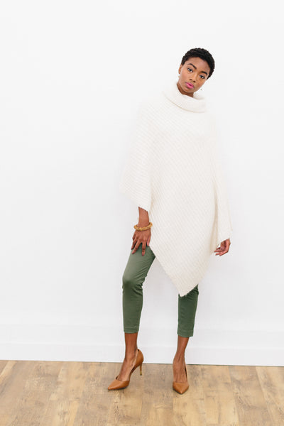 Ange Poncho in Organic Merino and Angora Blend