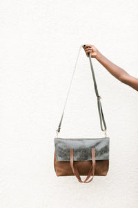 Dani Folding Leather Tote, Cocoa