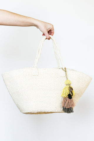 Sisal Market Bag with Embellishment, Natural
