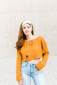 Distressed Crop Sweater w/ Fisherman Band