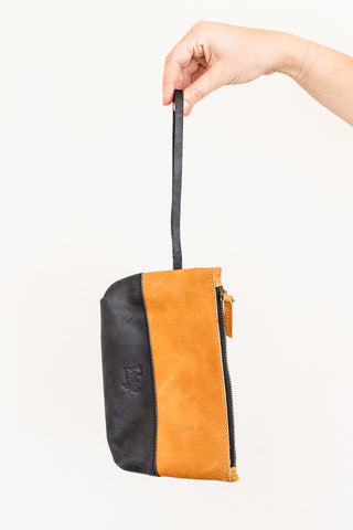 Abena Wristlet, Carmel and Black