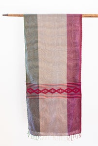 Handwoven Jewel-Tone Scarf, Emerald and Ruby