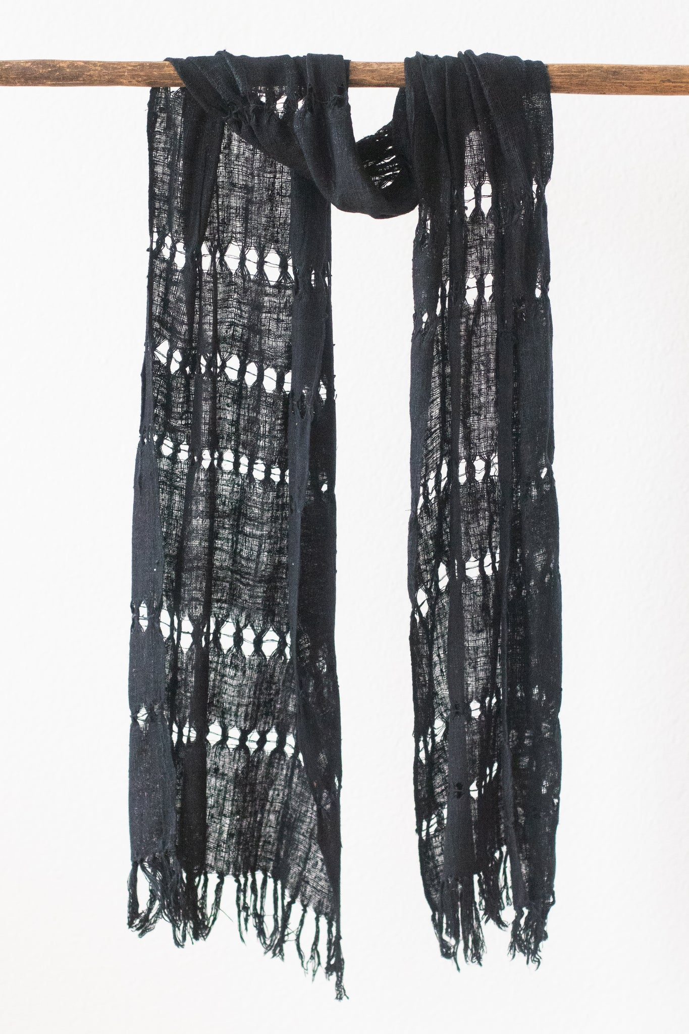 Wild Silk Spider Weave Scarf, Black Mud