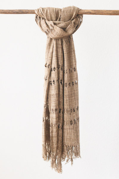 Wild Silk Spider Weave Scarf, Natural