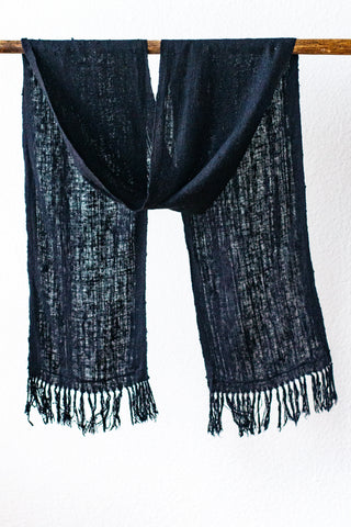 Wild Silk Skinny Scarf, Black Mud