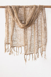 Wild Silk Open Weave Scarf, Natural