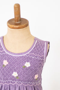 Hand Smocked Dress, Light Purple Corduroy with Pink and White Daisies