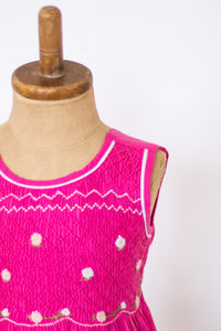 Hand Smocked Dress, Hot Pink