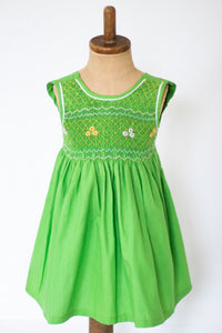 Hand Smocked Dress, Apple Green with Daisies