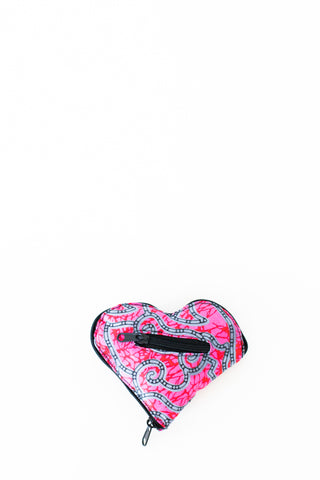Expandable Heart Tote, Pink Swirls