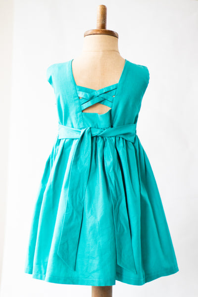 Hand Smocked Dress, Teal with White Daisies