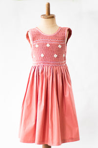 Hand Smocked Dress Floral, Dusty Rose