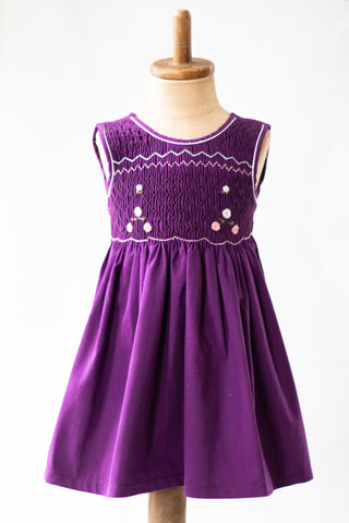 Hand Smocked Dress, Dark Purple with Pink and White Daisies