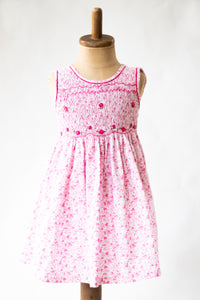 Hand Smocked Dress Floral, Pink Daisies