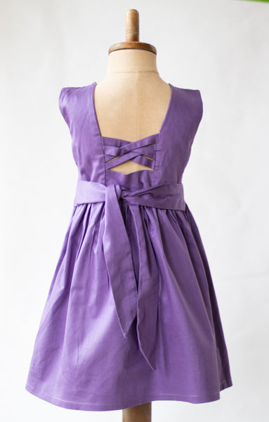 Hand Smocked Dress - Floral Grape