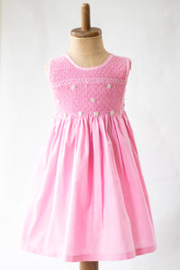 Hand Smocked Dress Floral, Cotton Candy