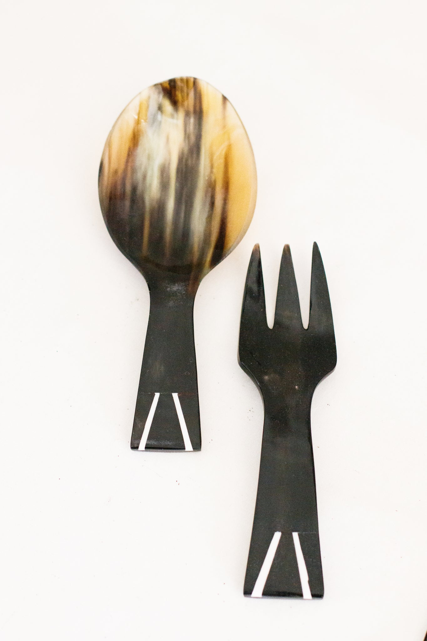 Cow Horn Salad Servers with Bone Inlay