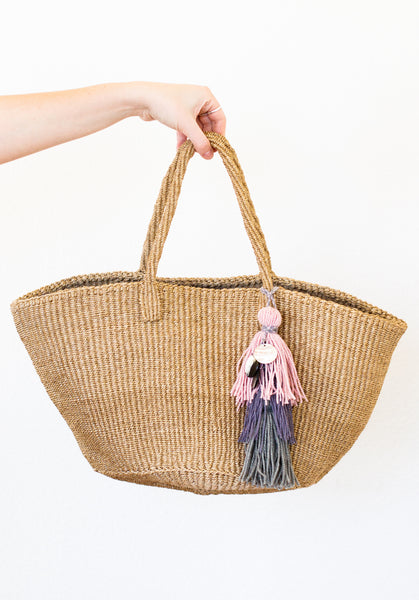 Sisal Market Bag with Embellishment, Taupe