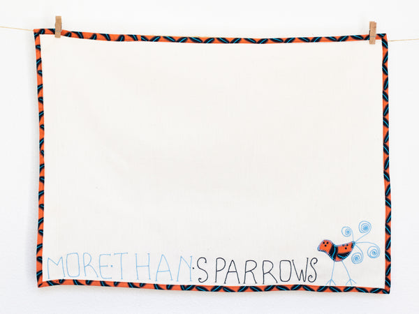 More Than Sparrows Tea Towel, Terracotta
