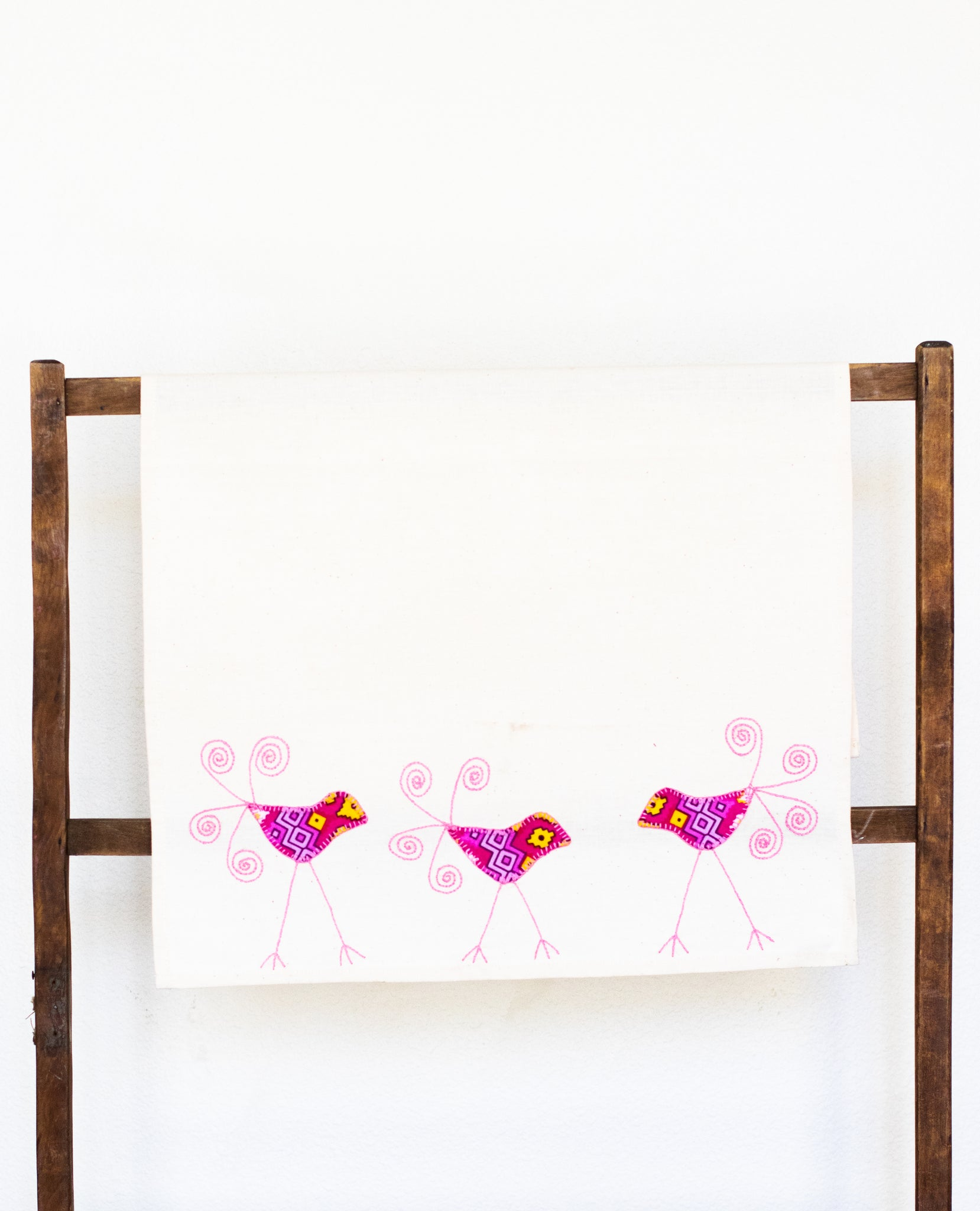 Triple Sparrow Tea Towel, PInk Lemonade