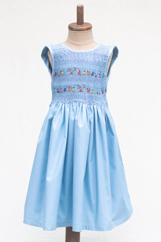 Hand Smocked Dress Children Playing, Sky