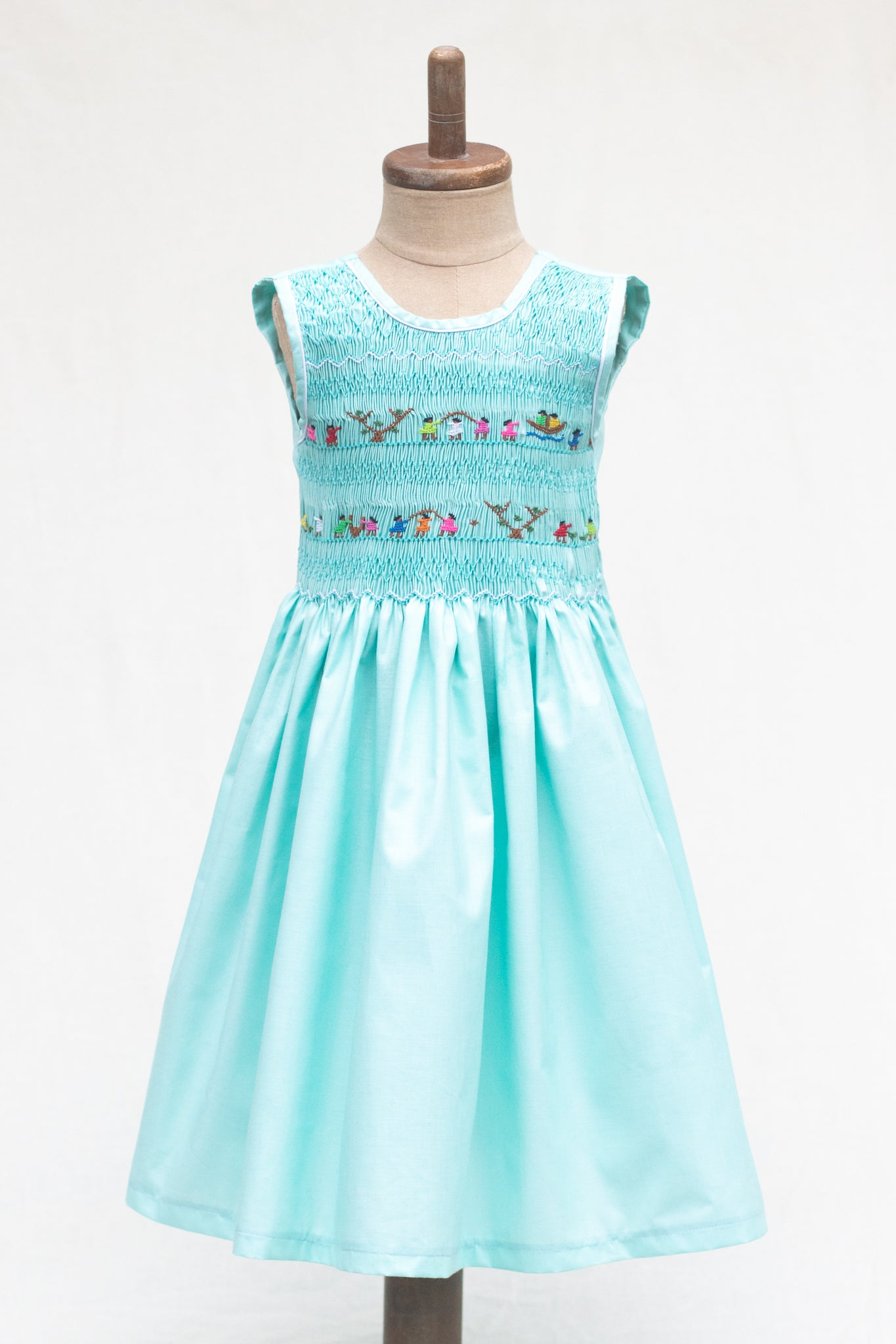 Hand Smocked Dress Children Playing, Pistachio