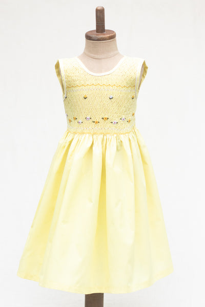 Hand Smocked Dress, Lemon