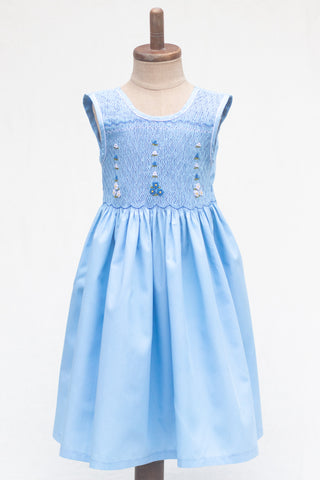 Hand Smocked Dress, Oxford Blue