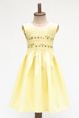 Hand Smocked Dress Children Playing, Daffodil