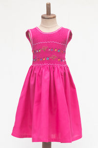 Hand Smocked Dress Children Playing, Watermelon