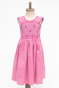 Hand Smocked Dress, Red Gingham