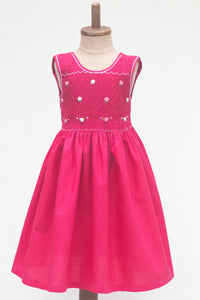 Hand Smocked Dress, Fuchsia with Daisies