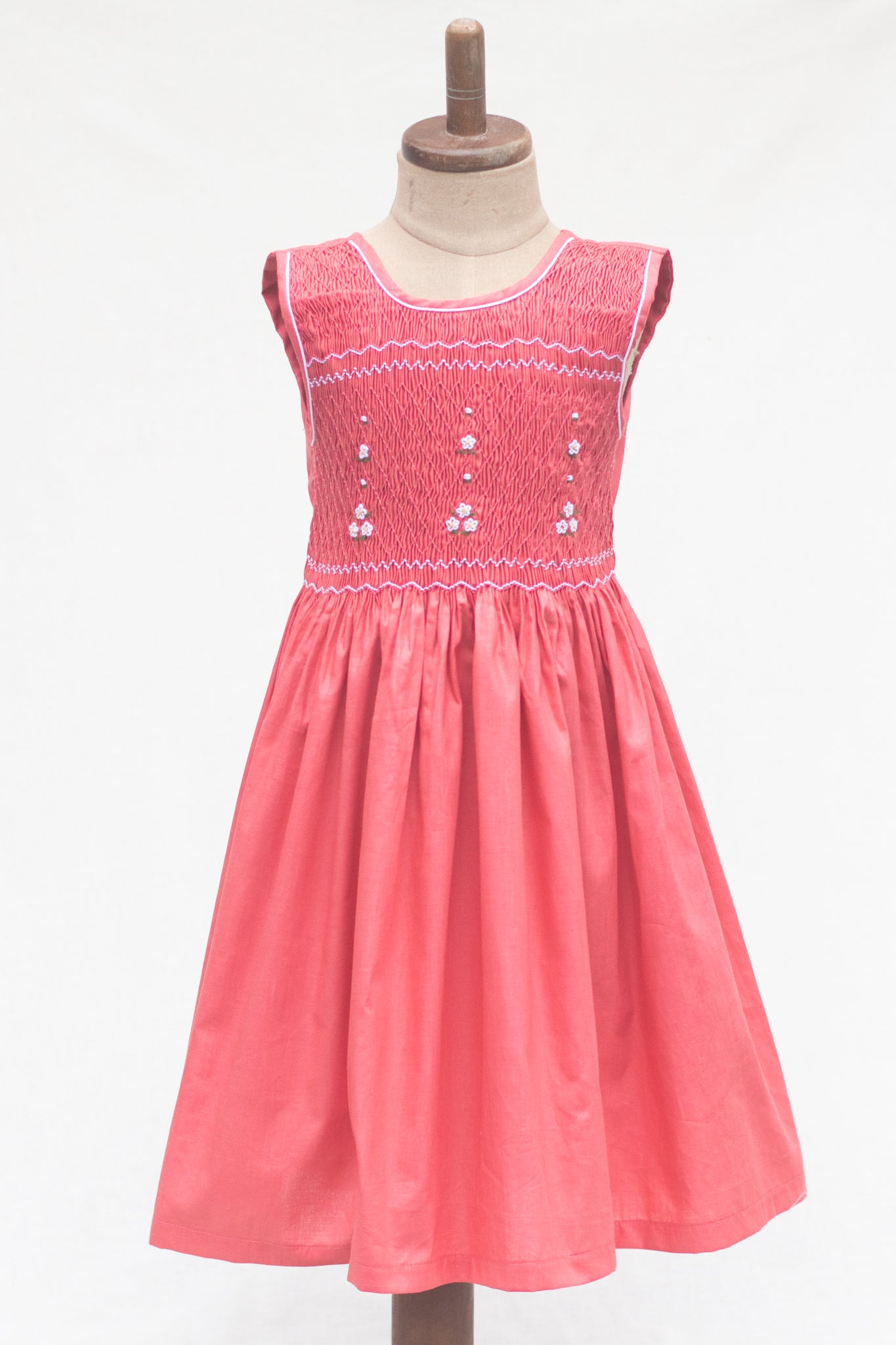 Hand Smocked Dress Floral, Punch