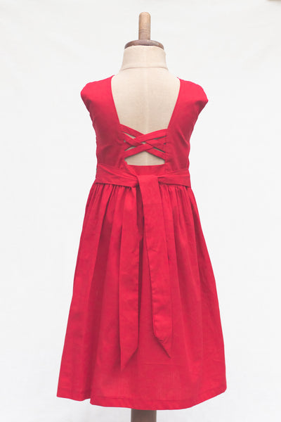 Hand Smocked Dress, Red