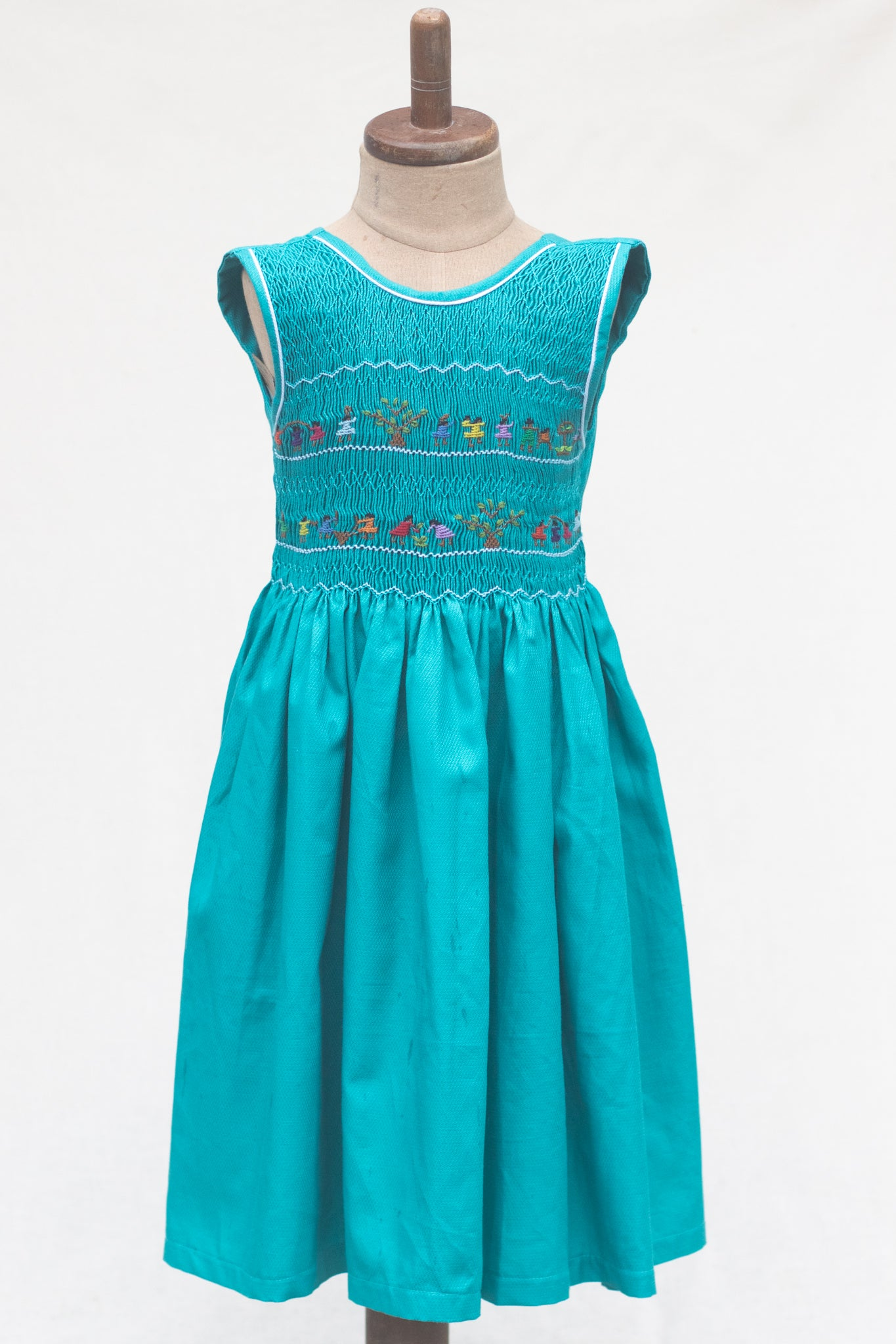 Hand Smocked Dress Children Playing, Teal