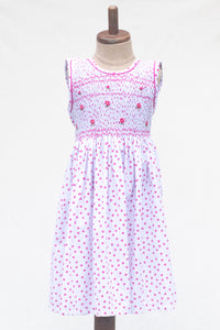 Hand Smocked Dress, White with Pink Daisy