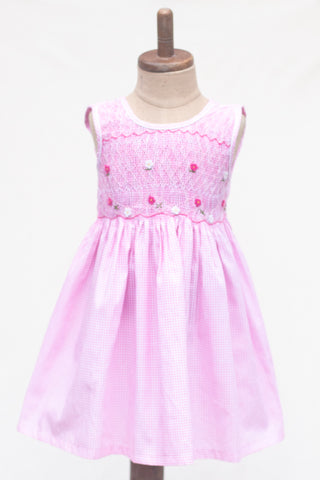 Hand Smocked Dress Pink Gingham