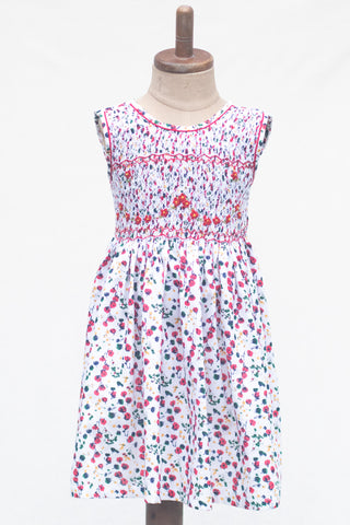 Hand Smocked Dress, Rose Bud