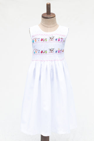 Hand Smocked Dress Children Playing, White
