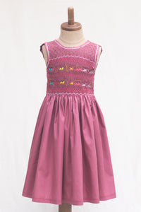 Hand Smocked Dress Children Playing, Mulberry