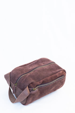 Mens Suede and Leather Toiletry Bag
