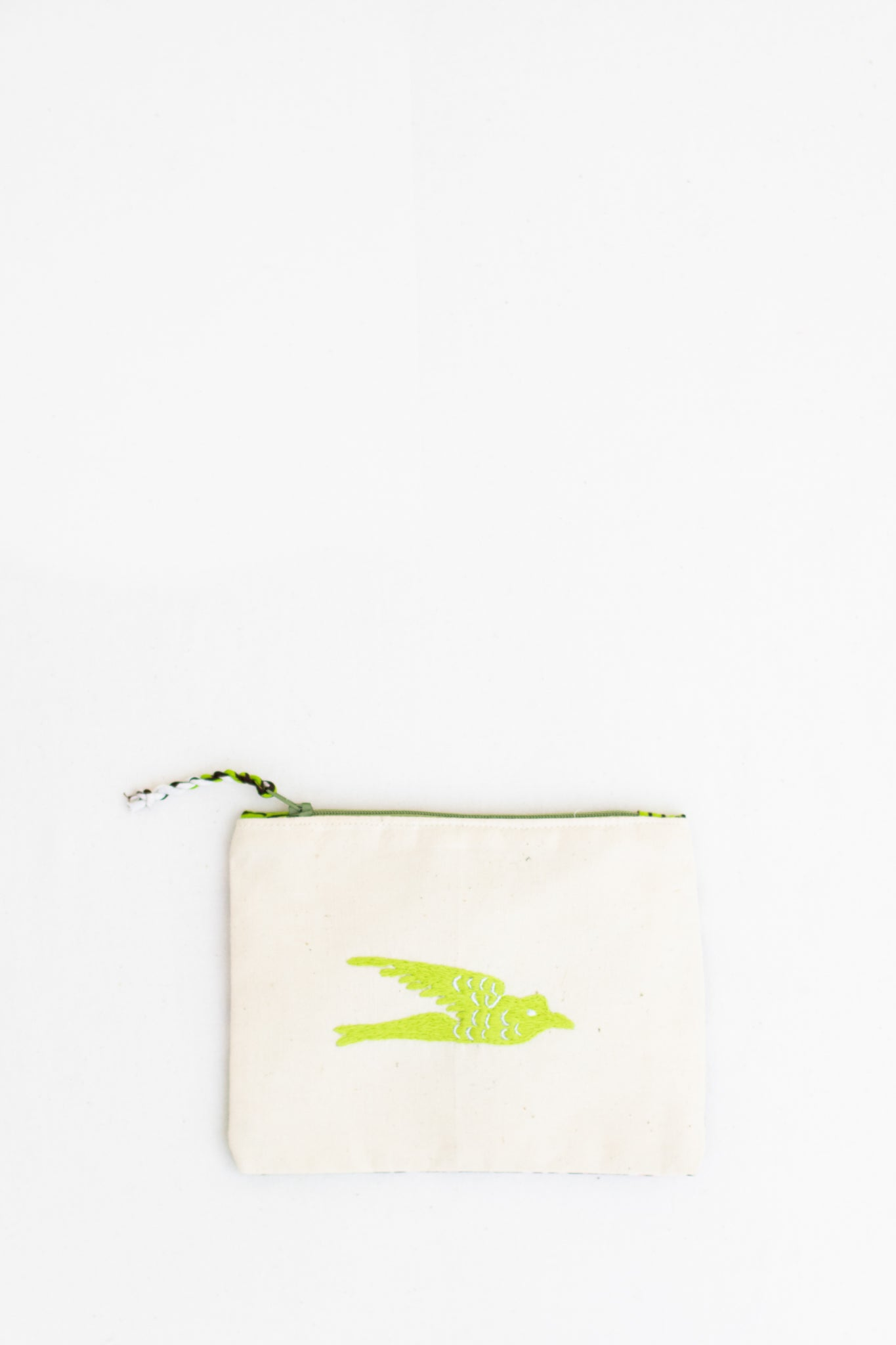 Embroidered Swallow Pouch, Neon