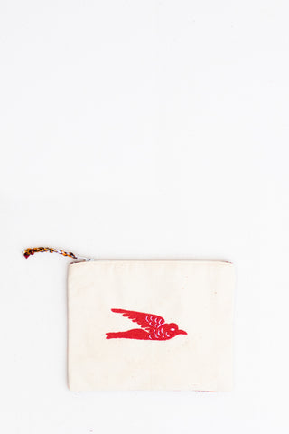Embroidered Swallow Pouch, Crimson