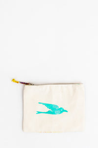 Embroidered Swallow Pouch, Cyan