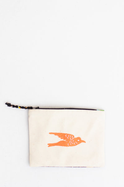 Embroidered Swallow Pouch, Coral