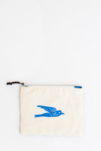 Embroidered Swallow Pouch, Cobalt