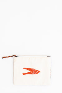 Embroidered Swallow Pouch, Brick